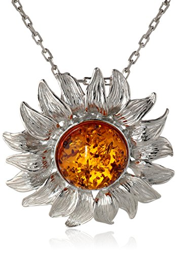 Honey Amber Sterling Silver Sunflower Pendant Necklace,18''