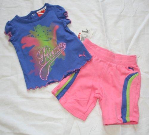 Puma Baby/Infant Girl'S 2 Piece Shorts Set - Size: 12 Months - Dazzle Blue/Pink