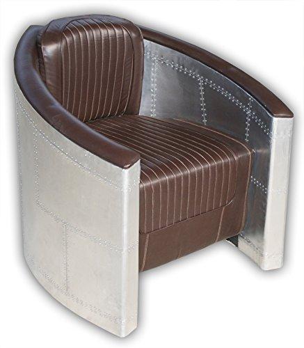 KMH®, Sessel aus Aluminum mit braunem Kunstlederpolster (B-WARE!) (#202228)