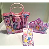 Disney Princess Dress Up 3 Pc Bundle: Disney Princess Jewelry Set, Beauty Tote, 57 Stickers