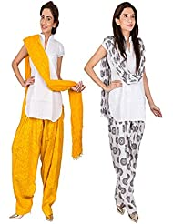 Womens Cottage Combo Pack Of 2 Printed Cotton Semi Patiala & Cotton Dupatta With Lace Set - B01G1GIYMM