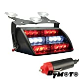 DT MOTO™ Red White 18x LED Firefighter EMS Personal Vehicle Emergency Dash Warning Light - 1 unit