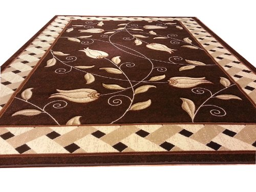 J711 Contemporary Modern Floral Hand Carved Brown 5x8 Actual Size 5'3x7'2 Rug