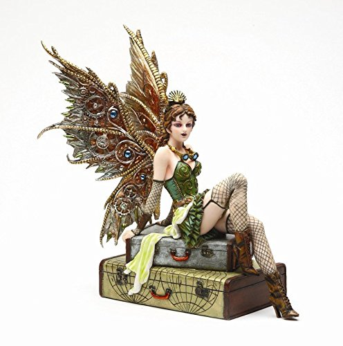 9.38 Inch Steampunk Fairy Sitting on Vintage Luggage Statue Figurine