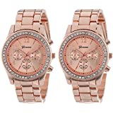 Geneva Rose Gold Plated Classic Round CZ Stainless Steel Back Ladies Boyfriend Watch (Rose Gold)