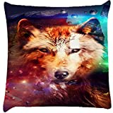Snoogg Wolf of hearts Digitally Printed Cushion Cover throw pillows 14 x 14 Inch