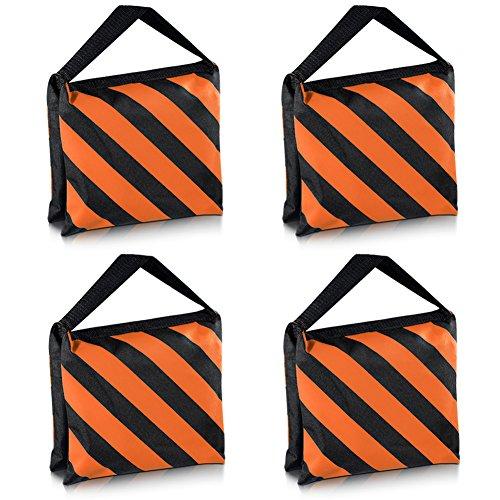 Neewer Set di quattro nero/arancione con scomparti per sabbia Studio fotografico Video Stage pellicola maggiore Borsa per luce Boom braccia treppiedi