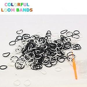 1800 Loom Bands & 72 S-Clips Métier à tisser Bandz élastique Colorful Loom® (Blanc + Noir)