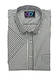Formals by Koolpals-Cotton Blend Shirt SQUARES NIGHT AND DAY.
