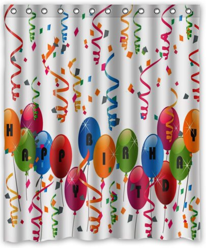 HOT design Happy Birthday Balloons Shower Curtain 60
