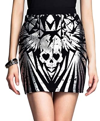 The Elastic Bag Hip Skirt Skull Printed Skirt