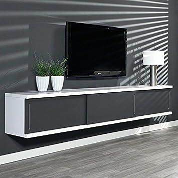 Sales fever TV armario con puertas correderas blanco mate oscuro Gray 3 puertas correderas