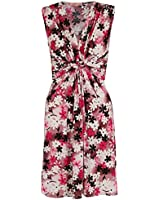 KRISP® Womens Knot Front Dress Floral Print Twisted V Neck Top Sleeveless Stretch Bodycon Mini Dress Summer (6172)