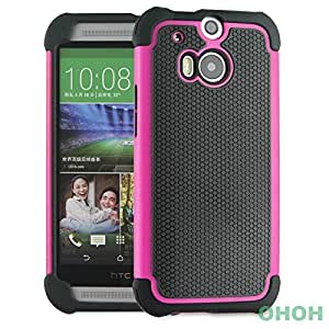 HTC One M8 Case, [Impact Resistant] [Shockproof] [Drop Resistant] 3in1 Rubber&PC Dual Layer Rugged Protective Case Cover with Kickstand for HTC One M8 (Rose)