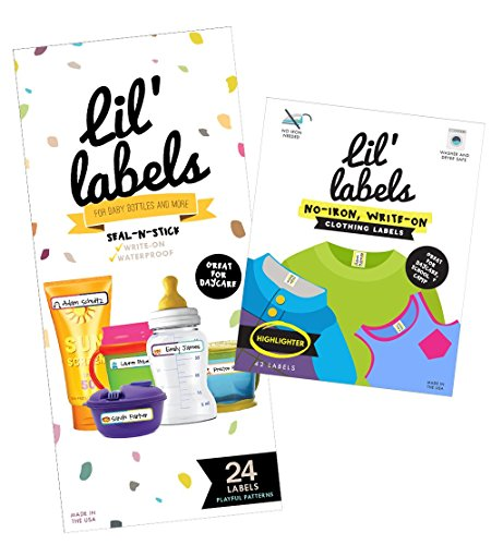 Lil' Labels Daycare Value Pack Bottle and Clothing Labels, Waterproof, Playful Pattrens, Highlighter