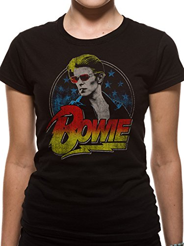 David Bowie Official Womens Fitted T Shirt Smoking Ziggy Starman Black Top Tee
