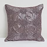 A S Traders Leather Feel Cushion Cover Cotton Shimmer base fabric with Floral design (40 Cm x 40 Cm, Dark Brown...