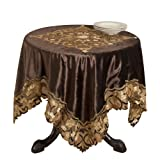 SARO LIFESTYLE 2037 Palazzo Square Table Topper, 40-Inch, Chocolate