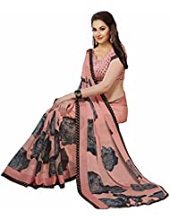 ISHIN Georgette Pink & Black Printed Party Wear Saree
