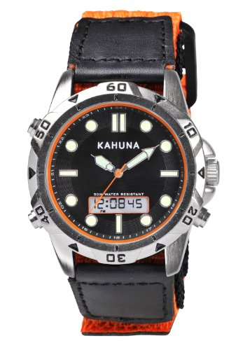 Kahuna Men's Quartz Watch with Black Dial Analogue - Digital Display and Orange Velcro Strap K6V-0011G