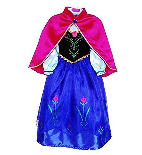 BJ&BJ® Costume Principessa Anna vestito operato della ragazza (4-5anni, viola)