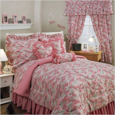 Pink camo bedding for girls sheets sets full for Camo bedroom ideas for girls
