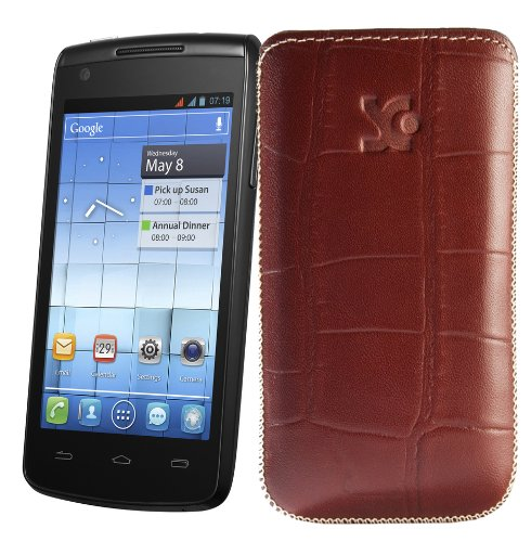 Original Suncase Tasche fuer / Alcatel One Touch 992D (Dual-Sim) / Leder Etui Handytasche Ledertasche Schutzhuelle Case Huelle - Lasche mit Rueckzugfunktion* In Croco-Braun
