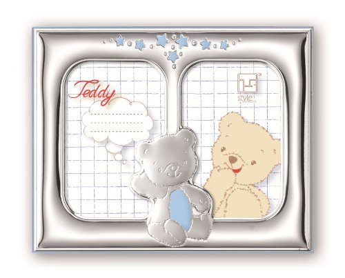 Silver Touch USA Gorgeous Sterling Silver Double Picture Frame, Blue Teddybear