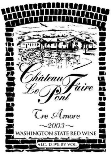 "2003 Chateau Faire Le Pont ""Tre Amori"" Washington State Red Blend 750 Ml"