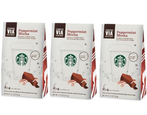 Starbucks Via Ready Brew Peppermint Mocha Coffee 18 Servings (3 Pack/Boxes) 6 Packets Each Box