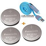 Panasonic 3 Pieces - BR3032 , ( BONUS 2-in-1 Charger Cable ) 3V Lithium Coin Cell Battery.