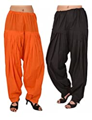 Pistaa Combo Offer Women Readymade Black And Orange Full Patiala Pant For Girls