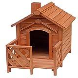 Chenil à chien avec véranda et cheminée, en bois de sapin, 690x620x570mm, refuge chen