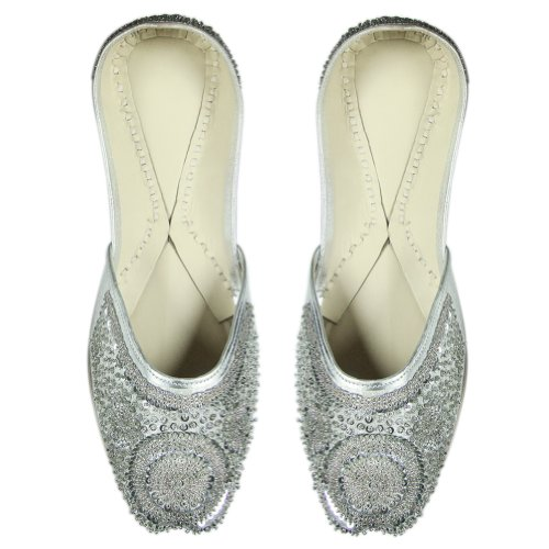 Cheap Equisitely Crafted Silver Sequins & Beaded Women Rexin Shoe with Leather Sole – US Size: 10.5 (B008QBGYB4)