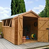 10ft x 8ft Shiplap Apex Wooden Storage Shed - Premier Groundsman - Brand 10x8 New Double Door Full Tongue and Groove Sheds