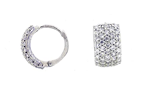 Adara 9 ct White Gold Cubic Zirconia Huggie Earrings