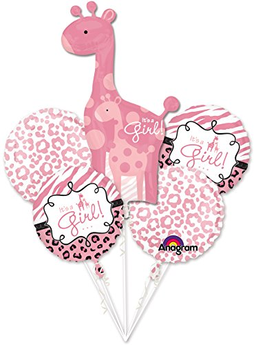 It's a Girl Sweet Giraffe Pink 5 Piece Balloon Mylar Set