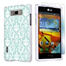 LG Optimus Showtime L86C White Protective Case + Screen Protector By SkinGuardz - Teal Retro