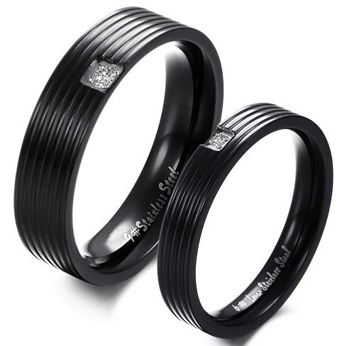 OPK-New Fashion Jewelry Black Grooves W/Rhinestone 316 l Stainless Steel Titanium Wedding Band Anniversary/Engagement/Promise/Couple Ring Best Gift!