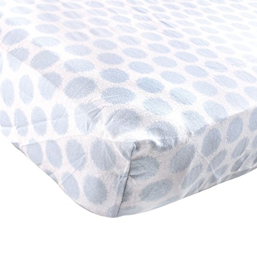 Luvable Friends Fitted Flannel Crib Sheet, Blue Fuzzy Dots - 1