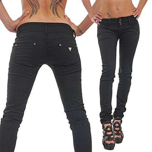 10039 Fashion4Young Damen Sexy Jeans Röhrenhose pants Hose verfügbar in 5 Größen Schwarz