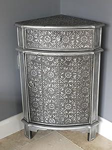 French Vintage Style Silver Embossed Bedside Corner