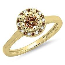 buy 0.50 Carat (Ctw) 14K Yellow Gold Champagne & White Diamond Bridal Halo Engagement Ring 1/2 Ct (Size 5.5)
