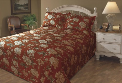 Review Stylemaster Emma Printed Floral Queen Matelasse Bedspread, Crimson
