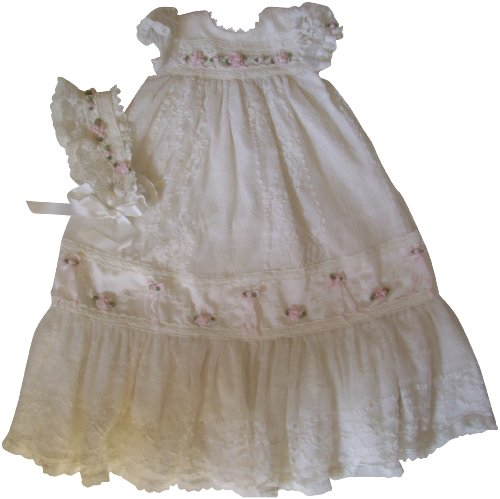 Ivory Lace And Pink Roses And Bows Baby Gown And Bonnet (3 Month) front-30455