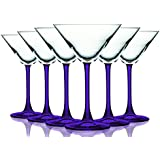 Purple Martini/Cocktail Glasses with Beautiful Colored Stem - 10 oz. set of 6- Additional Vibrant Colors Available by TableTop King