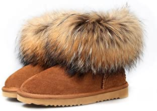 Ausland Women's Casual Suede Leather and Fox Fur Short Boot 9251