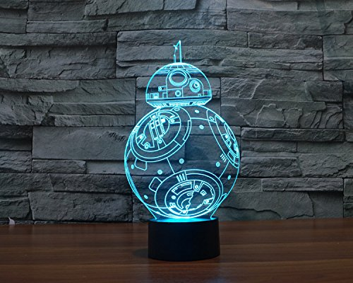 Walsoon Star Wars Bb-8 3d Night Light 7 Color Change LED Illusion Lamp Touch Switch