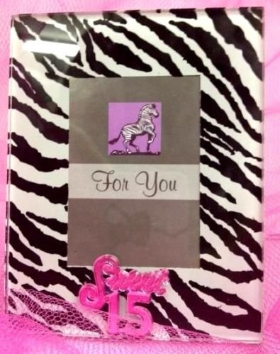 6 Mis Quince Sweet 15 Favor Picture Frame Zebra And Fuchsia Cool Glass Gifts front-1032205