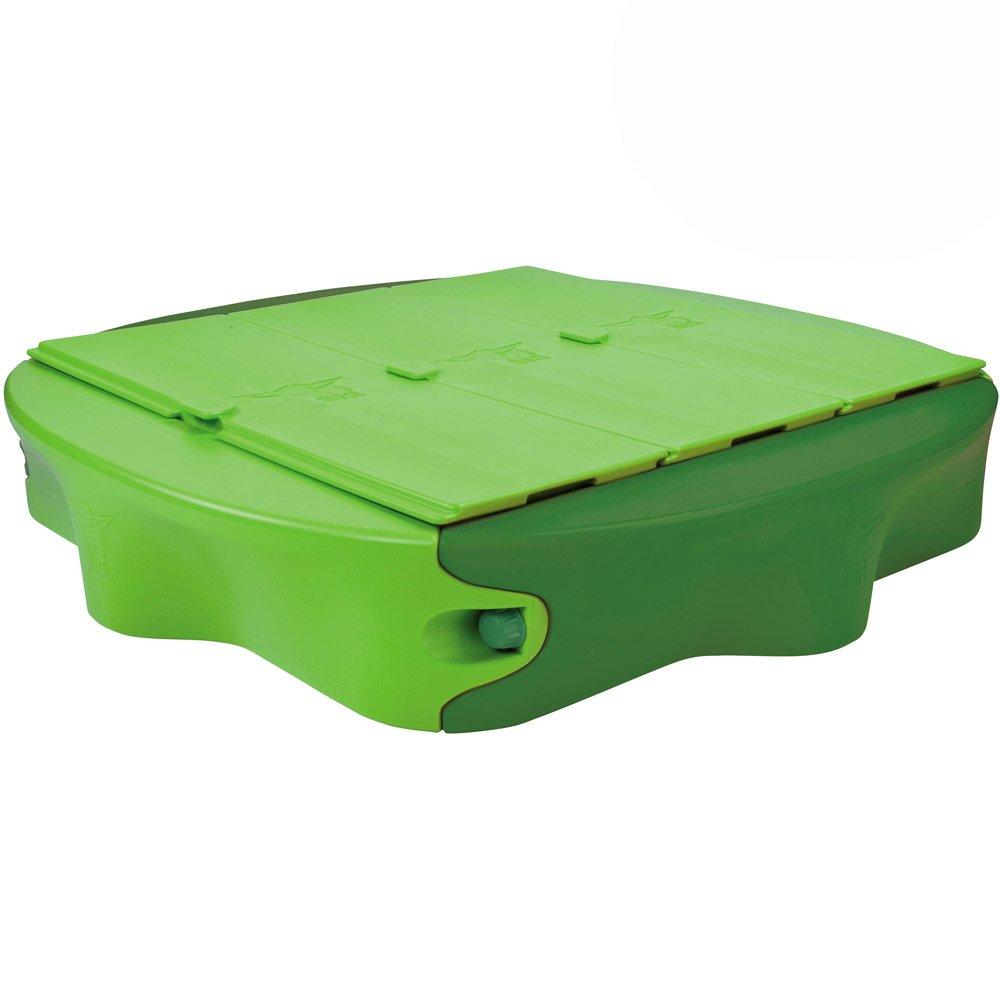 BIG Sandy mit bespielbarer Abdeckplatte, grün, 138×138 cm, breite Sitzfläche – Sandkasten HARD-Kunststoff-Deckel Cover mit Wasserbahn Sandkiste jetzt bestellen